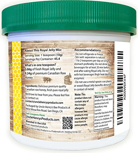 1-Best-Tasting-Royal-Jelly-Premium-Fresh-Farmers-Market-Quality-Big-1lb-Double-Sealed-Artisan-California-Product-Creamy-Raw-Honey-from-Canada-Original-Green-Lid-Youll-Love-it-Henrys-Guarantee-0-1