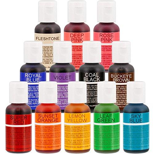 12-Color-US-Cake-Supply-by-Chefmaster-Liqua-Gel-Paste-Cake-Color-Set-The-12-Most-Popular-Colors-in-075-fl-oz-20ml-Bottles-0