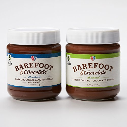 Barefoot-Chocolate-Chocolate-Almond-Coconut-and-Dark-Chocolate-Almond-Spread-with-Sea-Salt-2-Jar-Pack-975oz-Dark-975oz-Coconut-0