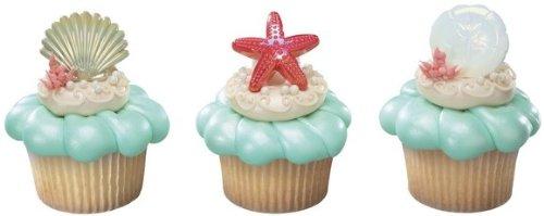Beach-Seashell-Sand-Dollar-and-Starfish-Cupcake-Rings-24-ct-0