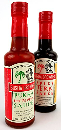 Busha-Brownes-Sauces-2-Flavor-Variety-One-5-oz-Bottle-Each-of-Spicy-Jerk-Sauce-and-Pukka-Hot-Pepper-Sauce-in-a-BlackTie-Box-0-0