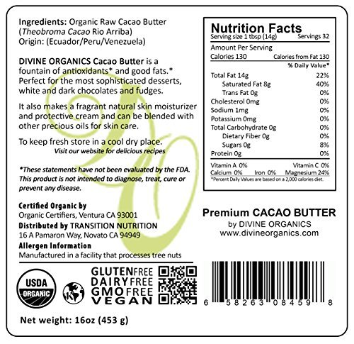 Divine-Organics-16oz-Raw-Cacao-Butter-Cocoa-Butter-Certified-Organic-Food-Grade-Edible-Fragrant-Natural-Skin-Moisturizer-0-1