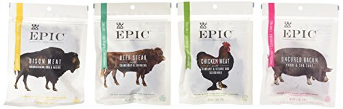 Epic-Jerky-Bites-Sampler-Bison-Meat-Uncured-Bacon-Beef-Steak-and-Chicken-Meat-25-Ounces-Each-0
