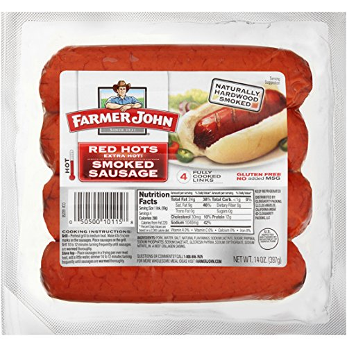 Farmer-John-Red-Hots-Extra-Hot-Smoked-Sausage-14oz-Package-Pack-of-4-0