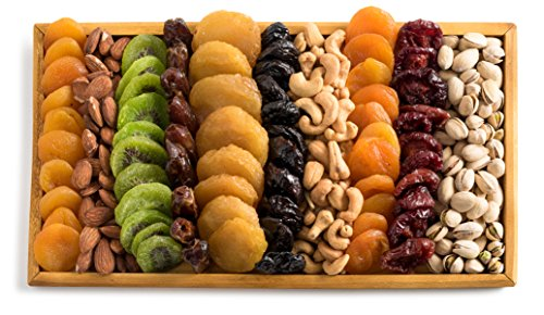 Happy Fathers Day, Gourmet Gift Tray, Dried Fruits & Nuts Platter in a  Reusable Wooden Display Tray, Great Gift Idea, By Benevelo Gifts