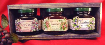 Jam-Jelly-3-different-5oz-Jar-Handcrafted-Gift-Crate-this-Set-is-from-Huckleberry-Haven-and-features-Chokecherry-Jelly-Huckleberry-Jam-and-Rasy-Huck-Jam-0