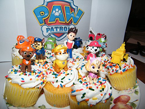 Nickelodeon-PAW-Patrol-Figure-Set-of-12-Deluxe-Mini-Cake-Toppers-Cupcake-Decorations-Party-favors-Featuring-Ryder-Marshall-Chase-Skye-5-Vehicles-and-Special-Gift-0-1