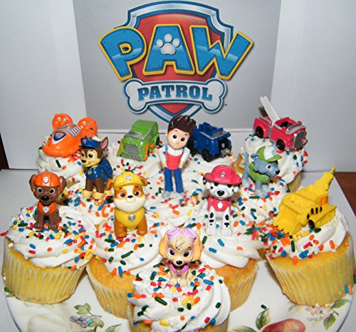 Nickelodeon-PAW-Patrol-Figure-Set-of-12-Deluxe-Mini-Cake-Toppers-Cupcake-Decorations-Party-favors-Featuring-Ryder-Marshall-Chase-Skye-5-Vehicles-and-Special-Gift-0