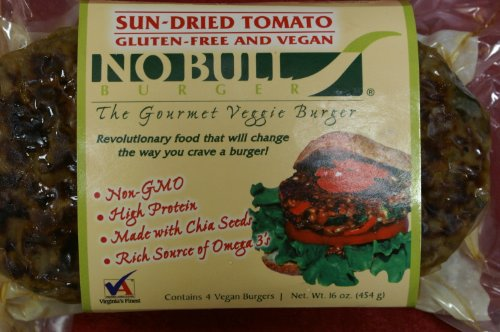 No-Bull-Vegan-Gluten-Free-Sun-Dried-Tomato-Spinach-Gourmet-Veggie-Burgers-6-Four-Packs-24-Burgers-total-Already-Cooked-Heat-Serve-0