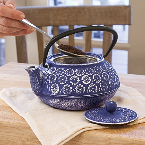 Primula-Teapot-with-Stainless-Steel-Infuser-and-Loose-Green-Tea-Packet-40-Ounce-Blue-Floral-0-0