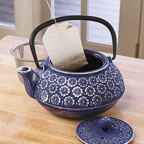 Primula-Teapot-with-Stainless-Steel-Infuser-and-Loose-Green-Tea-Packet-40-Ounce-Blue-Floral-0-1