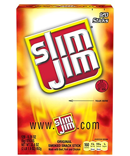Slim-Jim-Smoked-Snack-Sticks-Original-028-Ounce-Pack-of-120-0