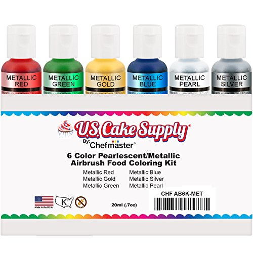 US-Cake-Supply-by-Chefmaster-Airbrush-Cake-Pearlescent-Shimmer-Metallic-Color-Set-The-6-Most-Popular-Metallic-Colors-in-07-fl-oz-20ml-Bottles-0-0