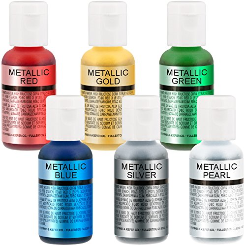 US-Cake-Supply-by-Chefmaster-Airbrush-Cake-Pearlescent-Shimmer-Metallic-Color-Set-The-6-Most-Popular-Metallic-Colors-in-07-fl-oz-20ml-Bottles-0