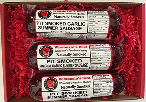 WISCONSINS-BEST-PIT-SMOKED-Summer-Sausages-SAMPLER-Gift-Basket-All-Natural-features-Garlic-Original-and-Onion-Garlic-3-12-oz-Pckgs-Perfect-Gifts-for-Sausage-Lovers-0