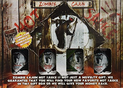 Zombie-Cajun-Hot-Sauce-Gift-Set-Gourmet-Basket-Includes-4-6oz-Bottles-of-the-Best-Louisiana-Hot-Sauce-Garlic-Jalapeno-Habanero-and-Cayenne-Pepper-Plus-a-Zombie-Gifts-Book-0-0