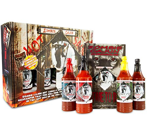 Zombie-Cajun-Hot-Sauce-Gift-Set-Gourmet-Basket-Includes-4-6oz-Bottles-of-the-Best-Louisiana-Hot-Sauce-Garlic-Jalapeno-Habanero-and-Cayenne-Pepper-Plus-a-Zombie-Gifts-Book-0