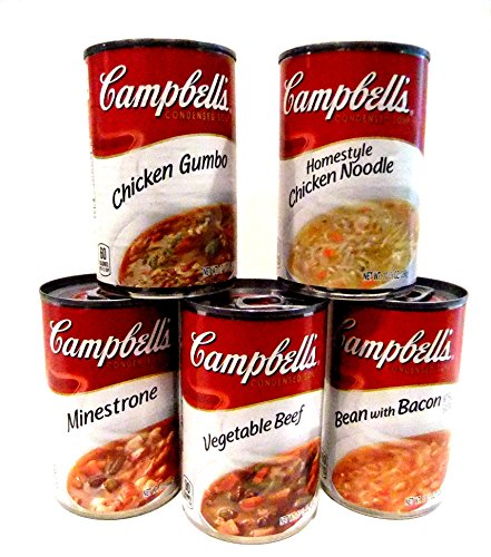 Campbells-Soup-WINTER-WARM-UP-Variety-10-Pack-FREE-24-pack-of-Plastic-Spoons-2-cans-each-of-BEAN-with-BACON-MINESTRONE-HOMESTYLE-CHICKEN-NOODLE-VEGETABLE-BEEF-CHICKEN-GUMBO-0