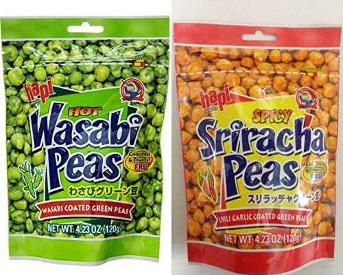 Hapi-Green-Peas-Variety-Bundle-423-oz-Pack-of-4-includes-2-Bags-Spicy-Sriracha-Peas-2-Bags-Hot-Wasabi-Peas-0